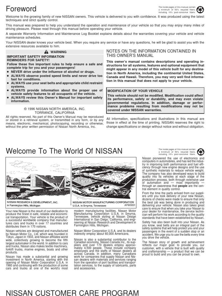 1997 Nissan Altima owners manual