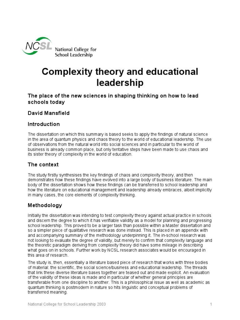 dissertations on educational leadership theory