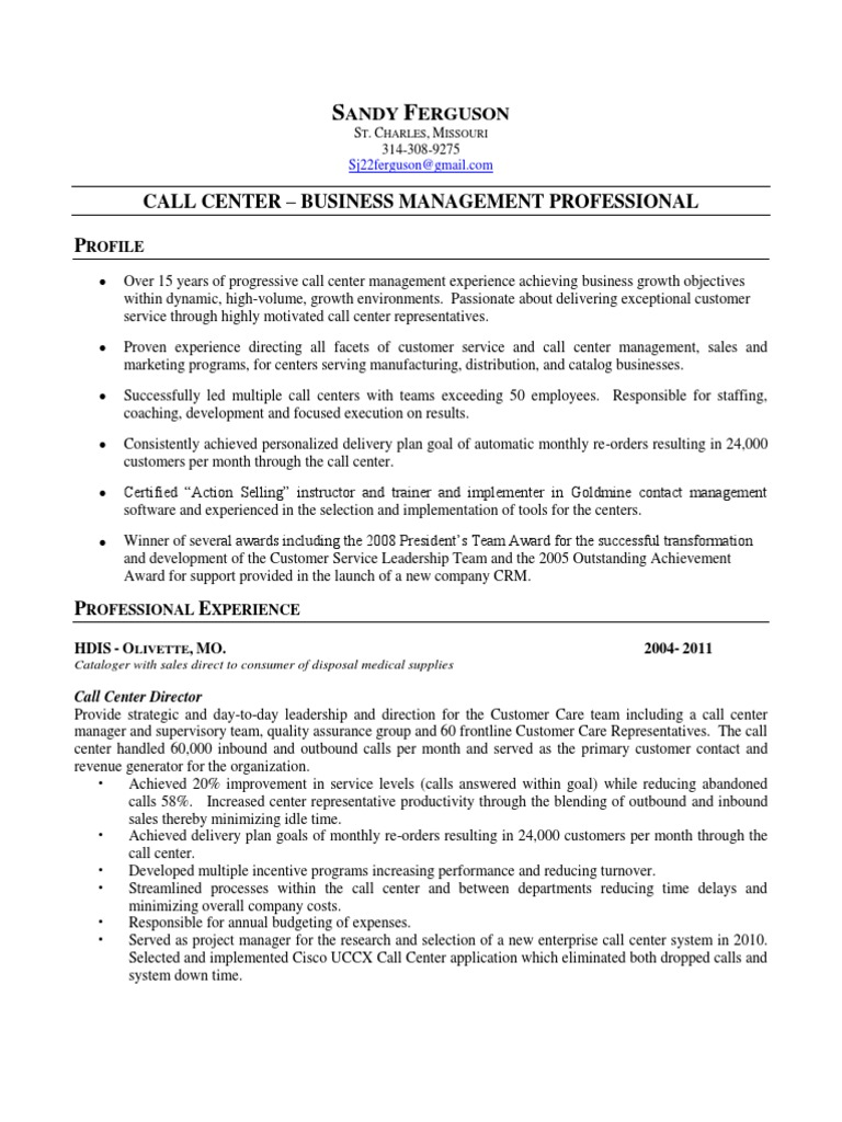 Nice Call Centre Management Resume Collection - Resume Ideas ...