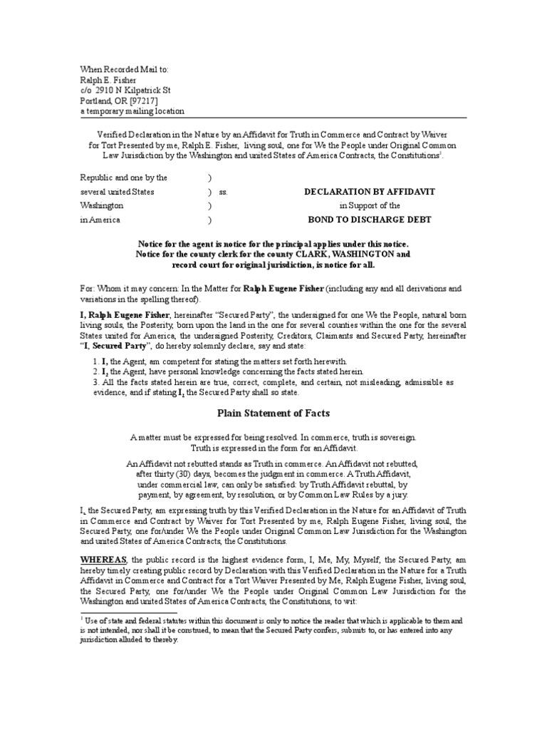 affidavit of debt