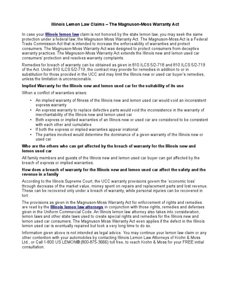 Illinois Lemon Law Claims -The Magnuson-Moss Warranty Act ...