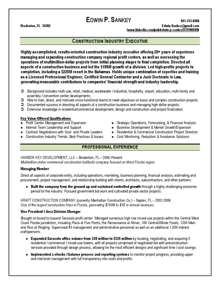 construction vice president resume