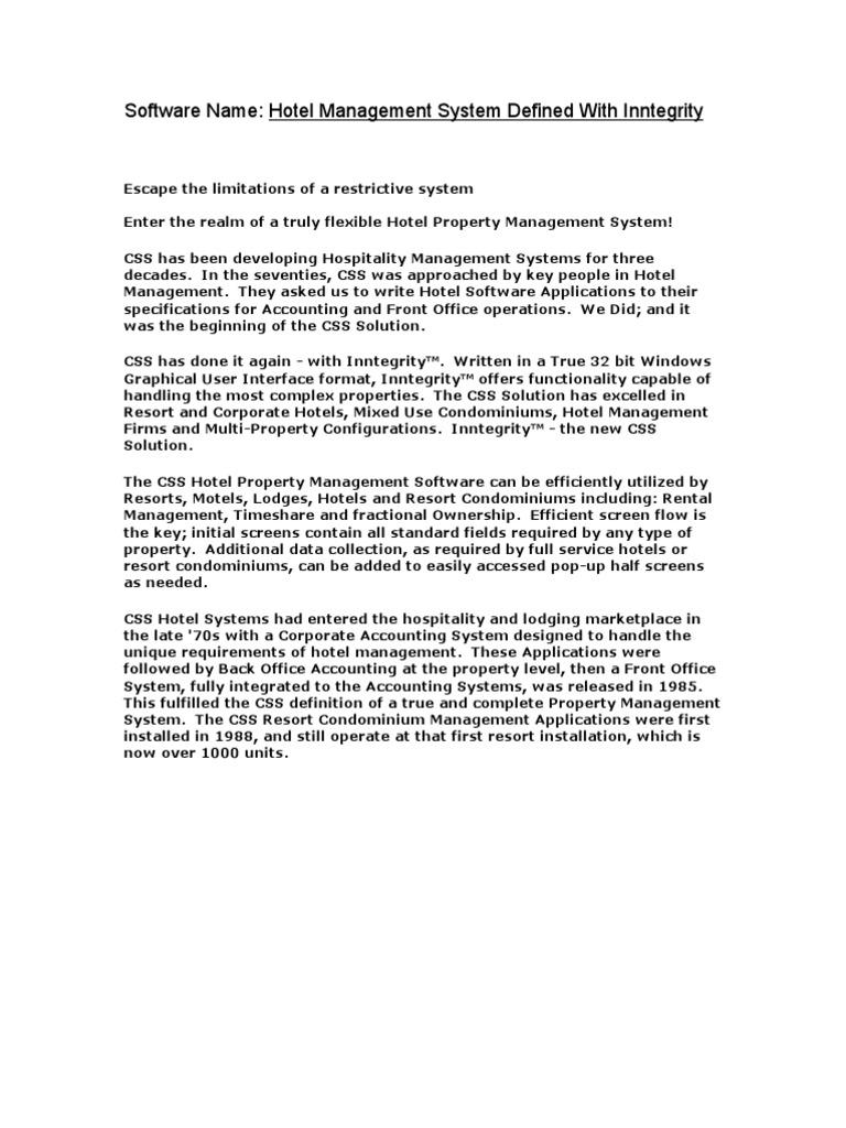 Hotel Management Software - DocShare tips