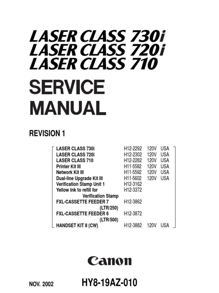 Download Canon Laser Class 710 730i 720i Service and Parts Manual -  DocShare.tips
