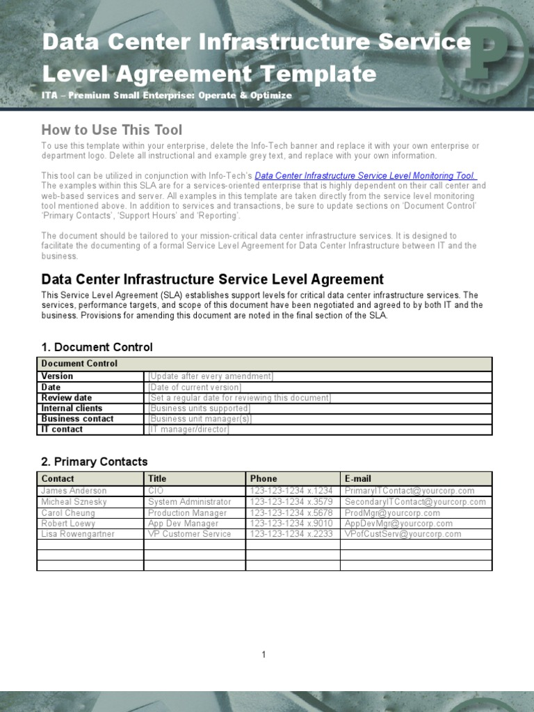 Data Center Infrastructure SLA Template - DocShare.tips