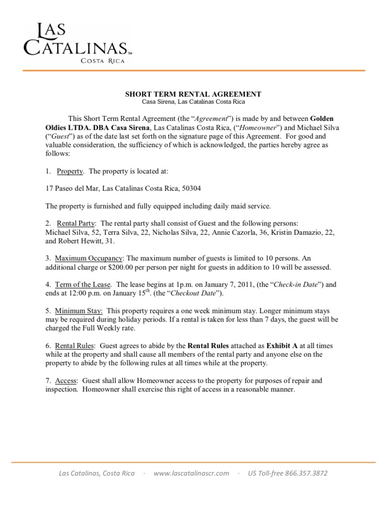 ShortTerm Rental Agreement TEMPLATE