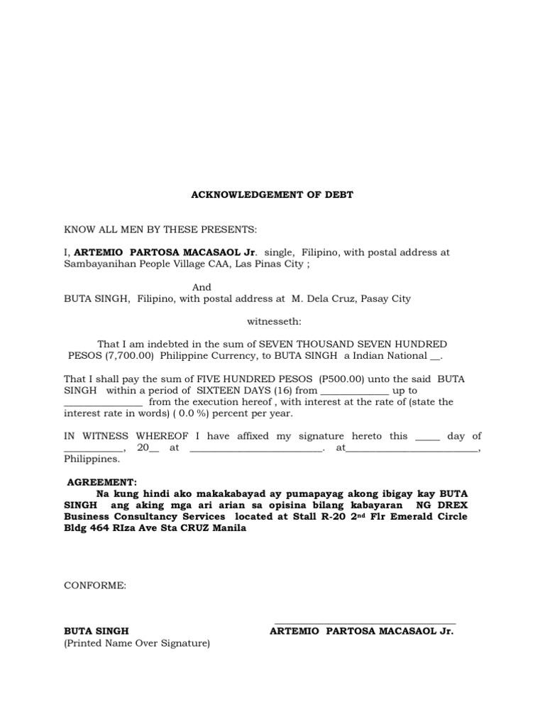 Download Acknowledgement Of Debt Sample Docshare