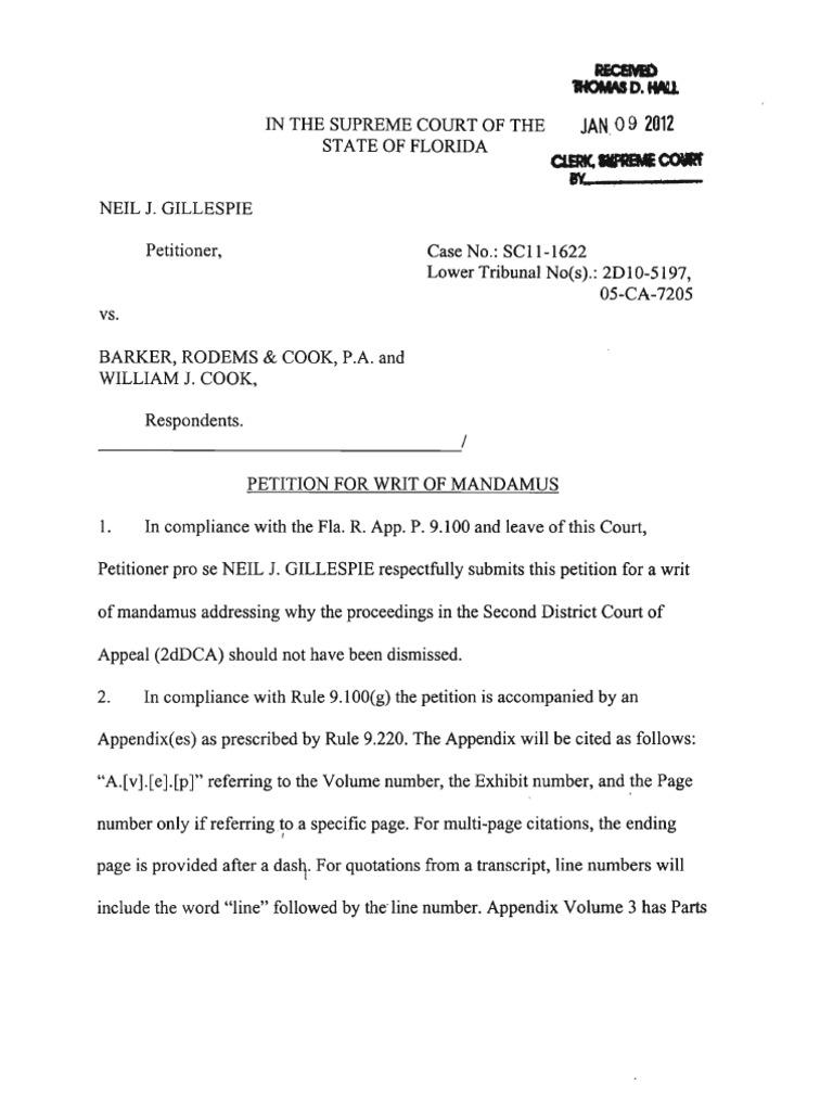 Petition SC11-1622 Writ Mandamus Florida Supreme Court Jan-09-2012 ...