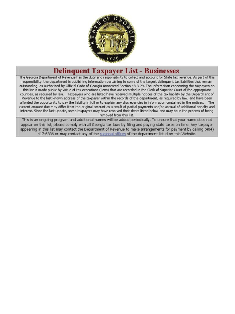 GA Taxes Delinquent-Businesses - DocShare tips