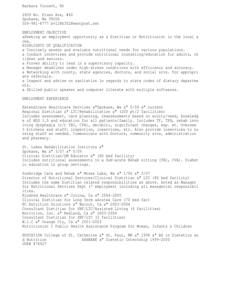 download dietitian resume docshare tips