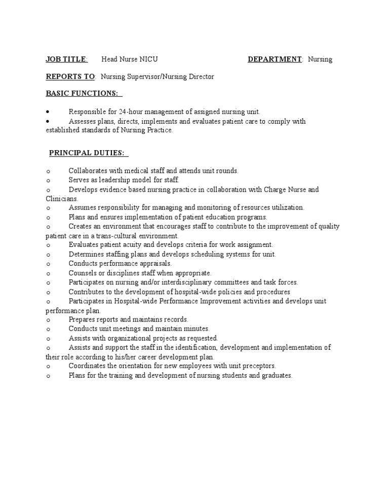 Job Description Head Nurse Nicu Docshare
