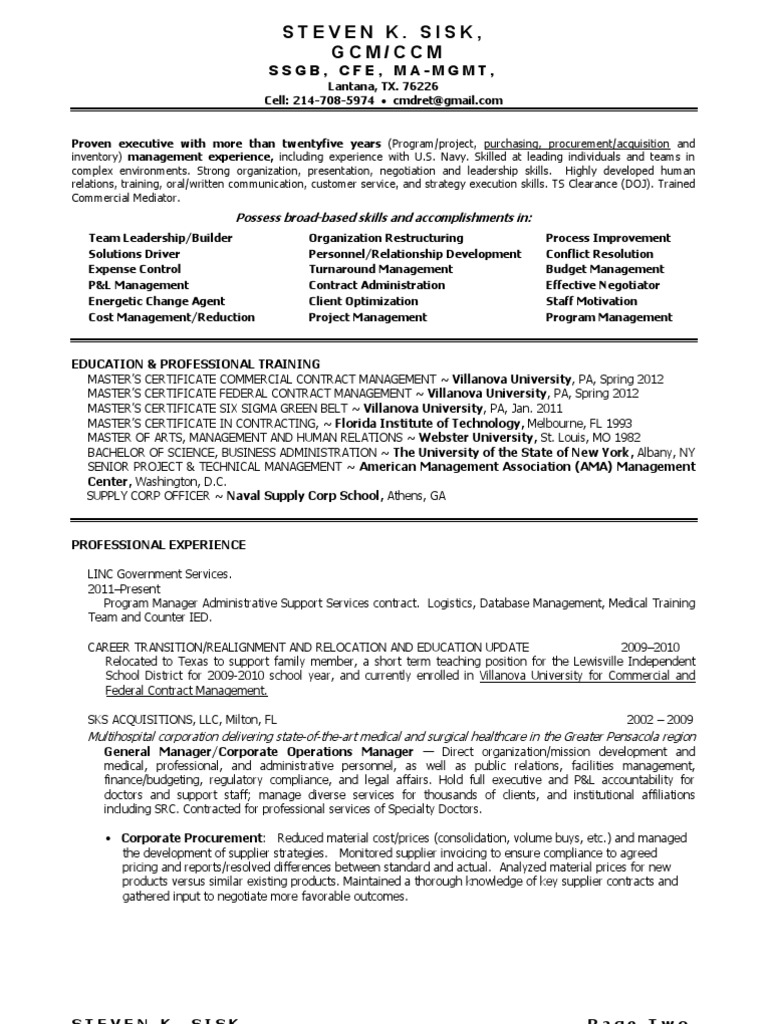 Chief Procurement Officer Logistics In Dallas Ft Worth Tx Resume