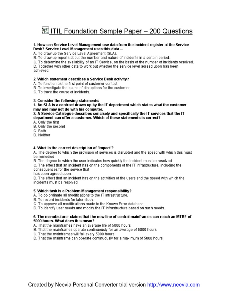 Download Itil Exam Sample With Answer Docshare