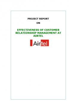 crm practices by airtel Customer relationship management at airtel project on every effort has been made to reduce to the minimum the implementation of crm practices.