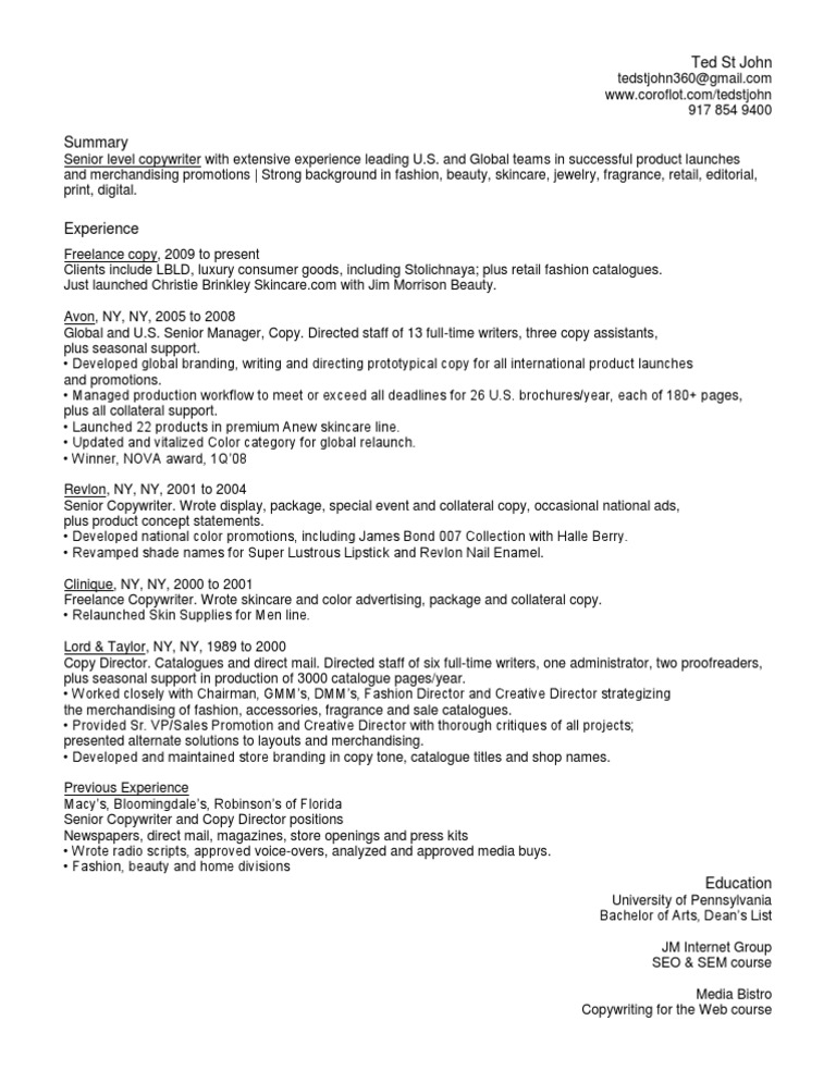Download Senior Beauty Fashion Copywriter in NYC NY Resume Ted St