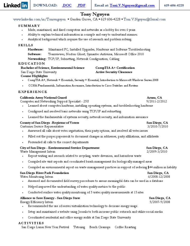 Download Tony Hoover Resume 09 - DocShare.tips