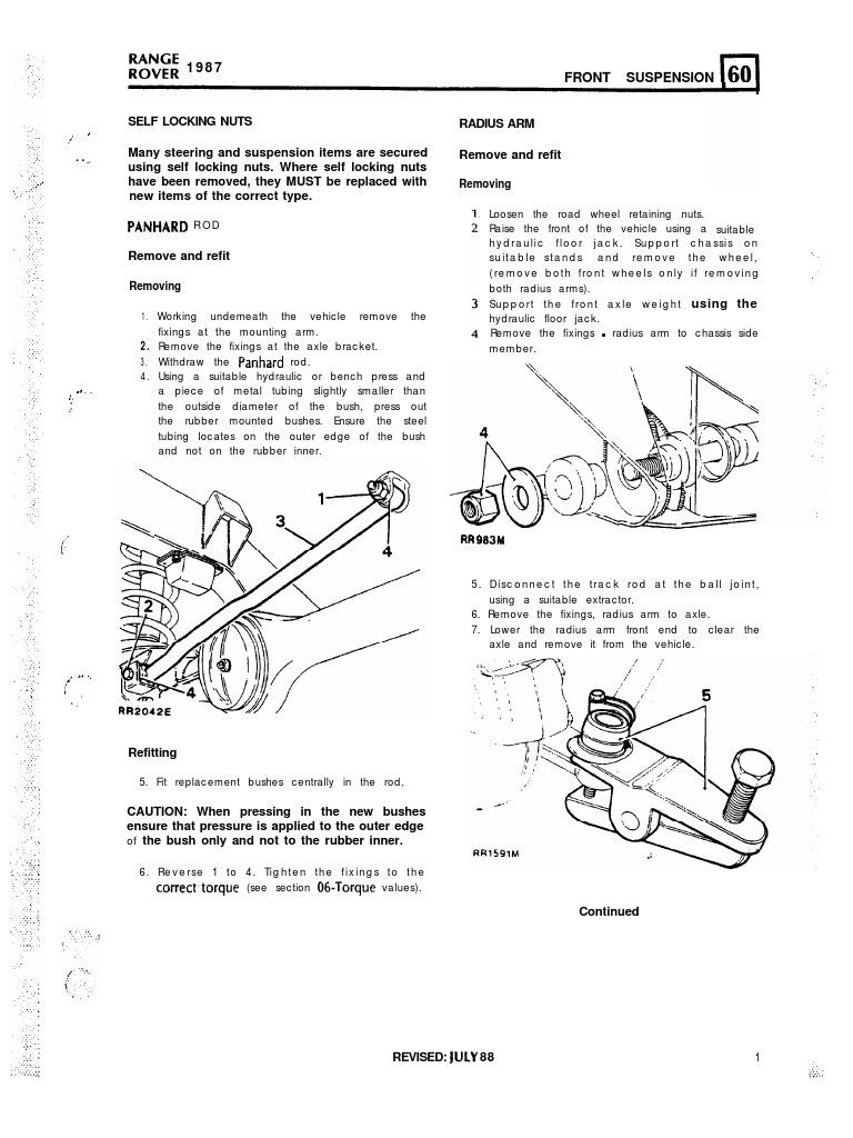 Download Workshop Manual Range Rover P38 Track Rod Suspension