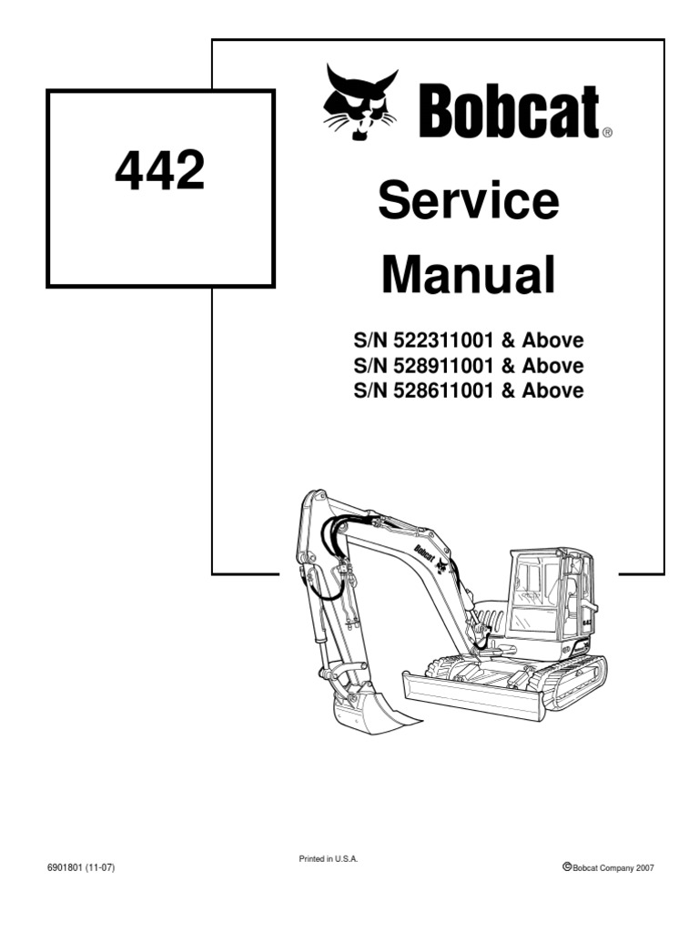 8612958-Bobcat 442 Mini Excavator Service Repair Manual Download S N  522311001 Above S N 528911001 Above S N 528611001 Above - DocShare.tips