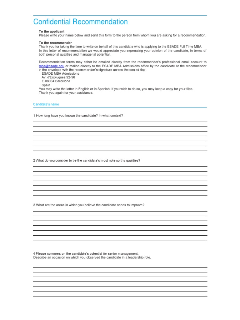 download esade recommendation letter mba ft docsharetips