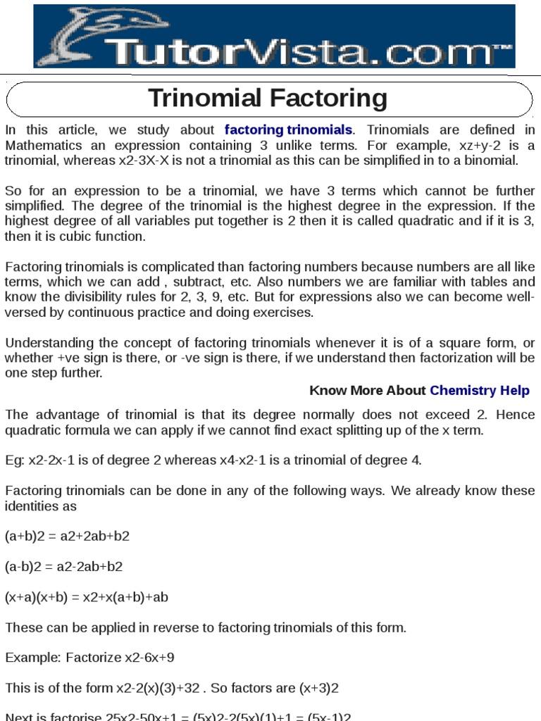 Factoring Trinomials Activity Beginner