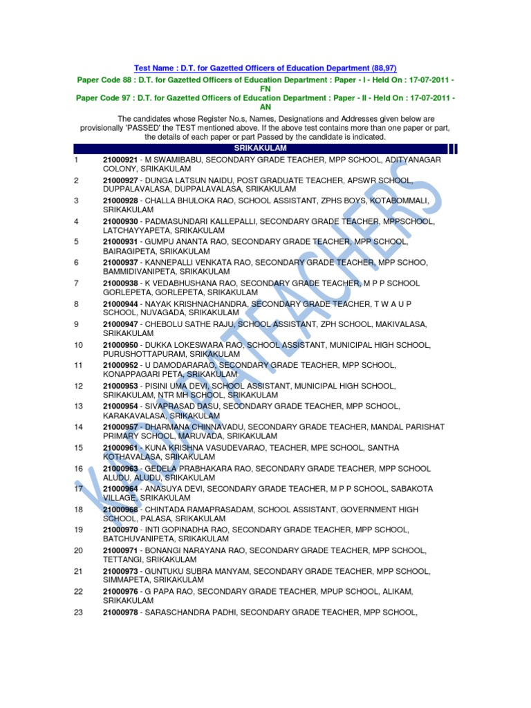 Paper Code 88 D T  for Gazetted Officers of Education