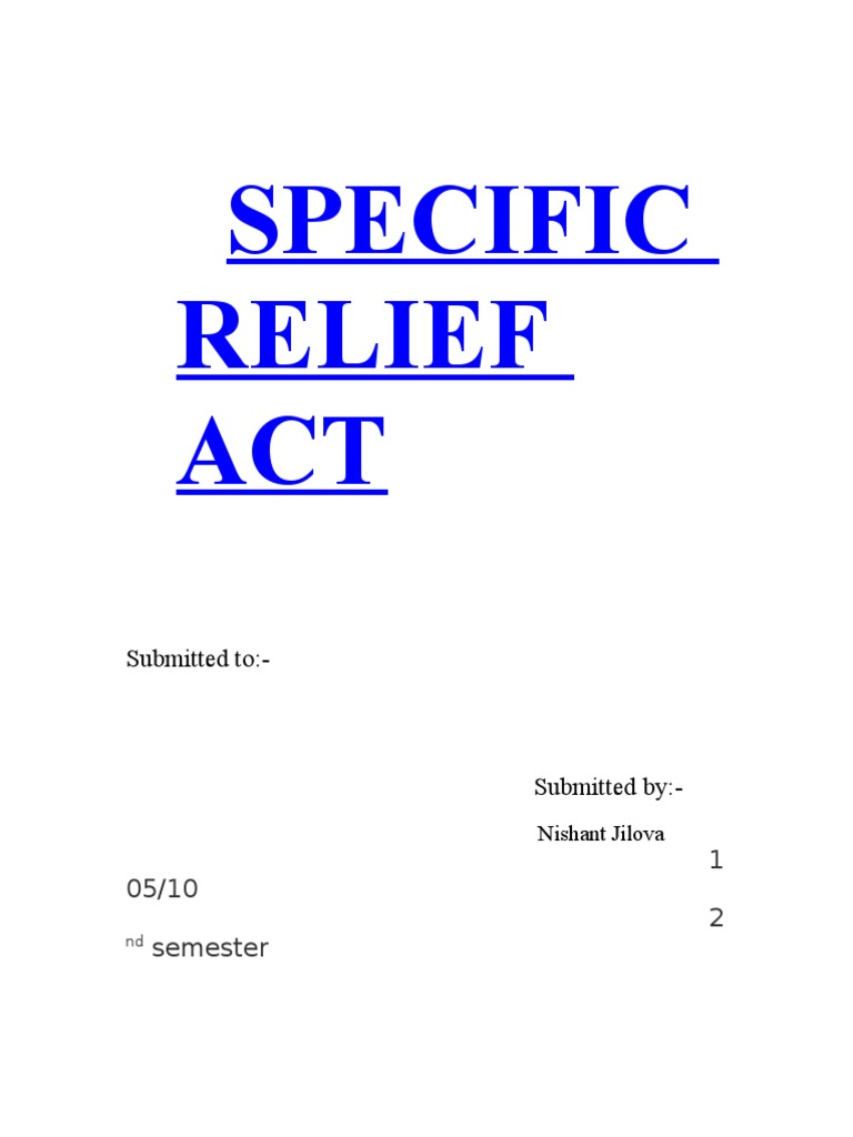 specific relief App features- - complete 'the specific relief act, 1963' in digital format doesn't require internet connection to read act once downloaded - view data section wise / chapter wise (data updated as of.