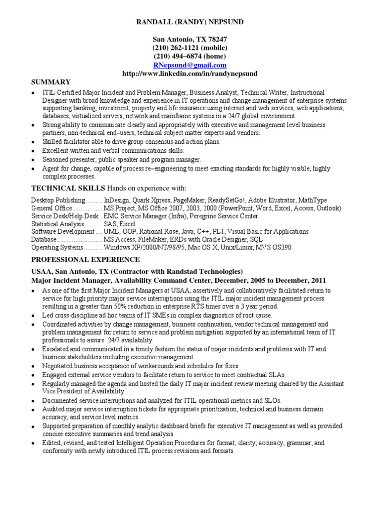 major incident manager itil in san antonio tx resume