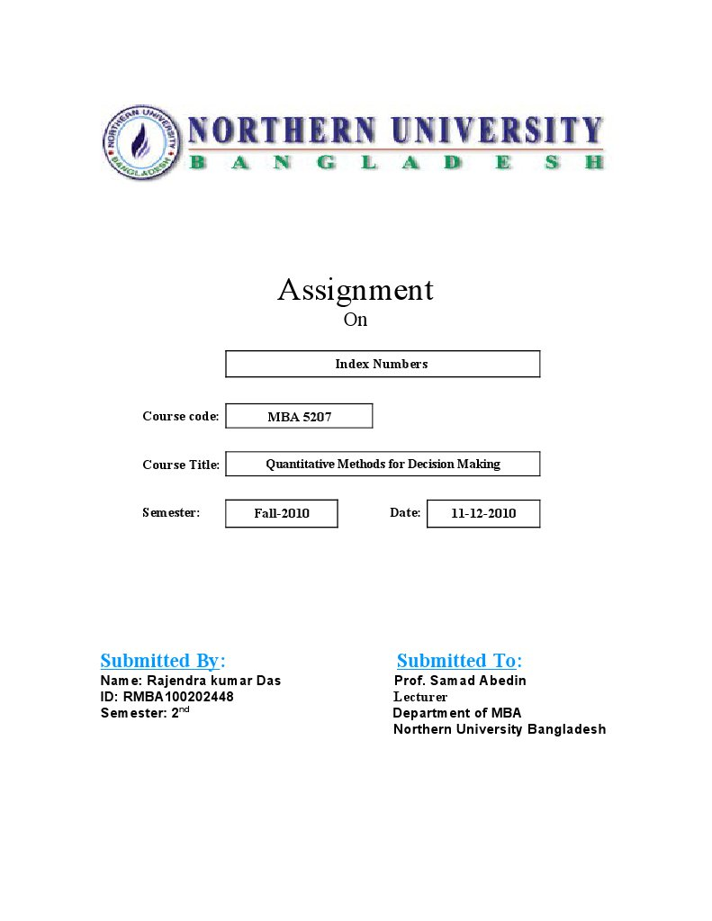 assignment front page format