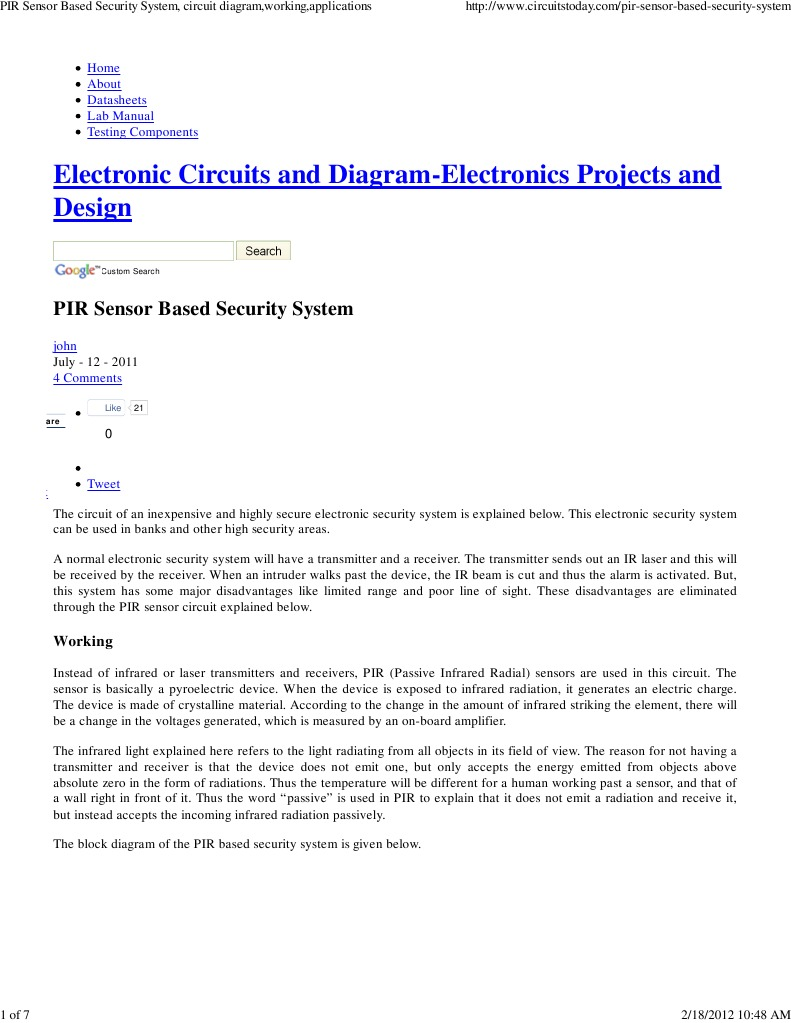 Download pir sensor based security system circuit diagramworking pir sensor based security system circuit diagramworkingapplications pooptronica Gallery