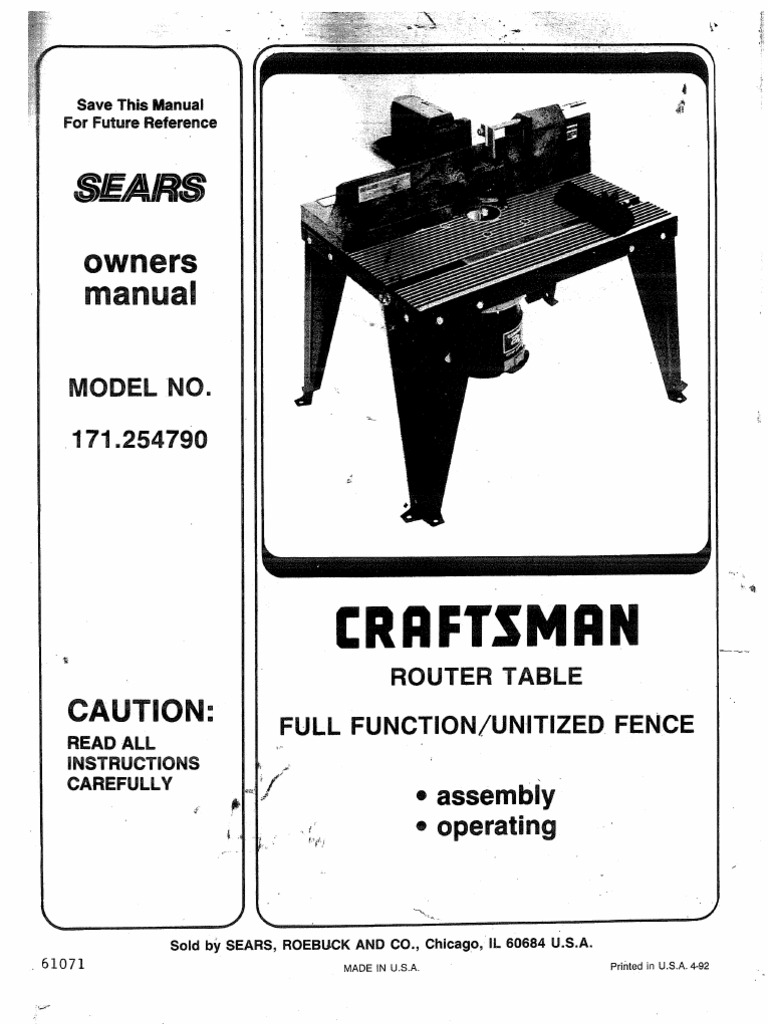Sears Router Table 925479 Docshare Tips