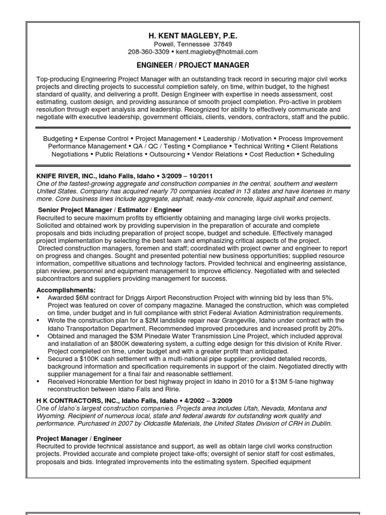 Download Program Delivery Project Manager in Memphis TN Resume Ernie ...