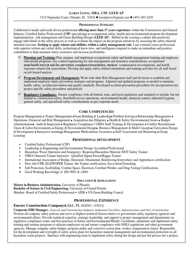 100 ehs engineer resume virtren national