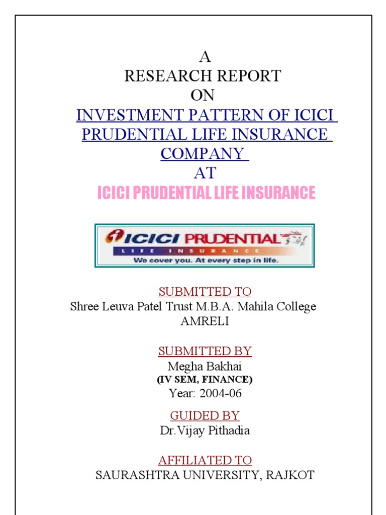 project report on icici pru Project report at rupee solutions financial consultancy, bangalore icici pru life insurance organizational set up promoters of icici pru.