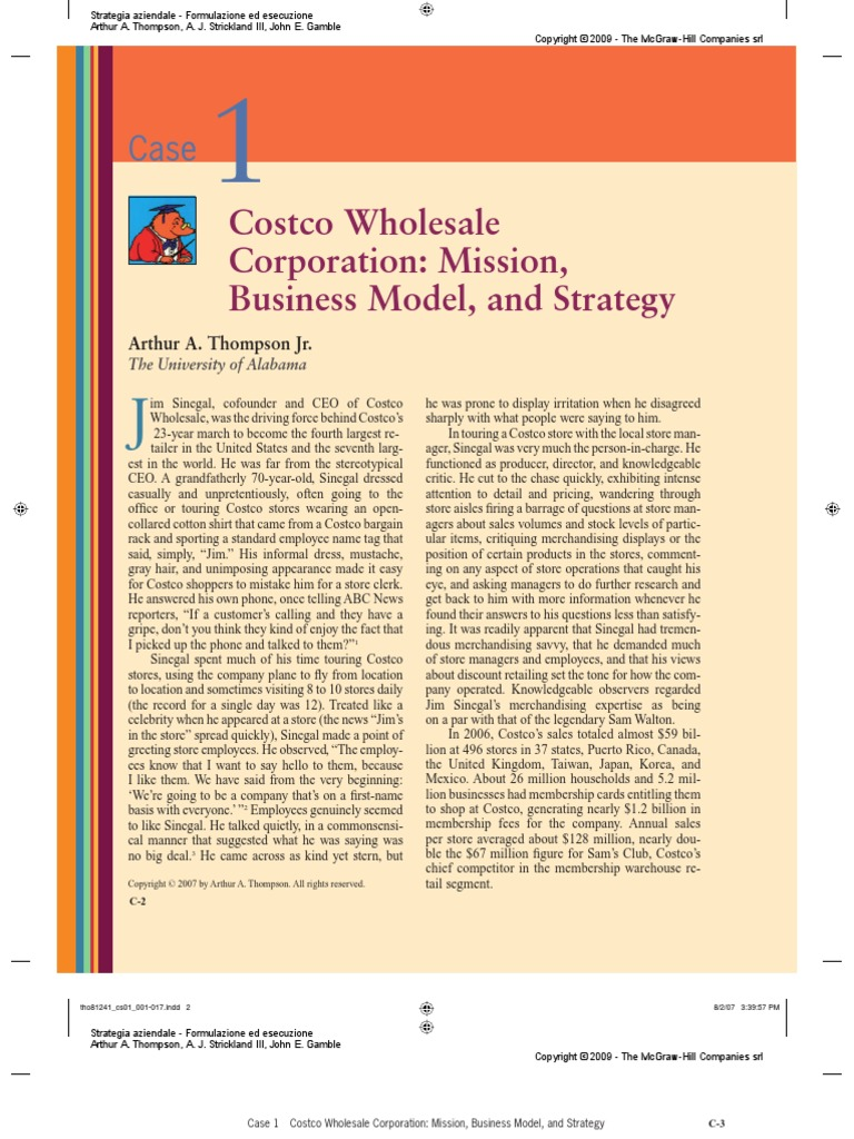 costco wholesale in 2012 mission business model and st