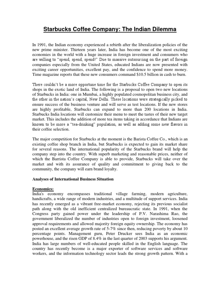 foreign direct investment starbucks case essay Starbucks foreign direct investment print reference this published: 23rd march, 2015 last edited: 31st may, 2017 disclaimer: this essay has been submitted by a.