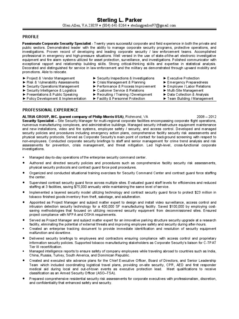 Download Corporate Security Specialist Executive Protection In Wa Or Data Policy And Procedures Ca Resume Sterling Parker