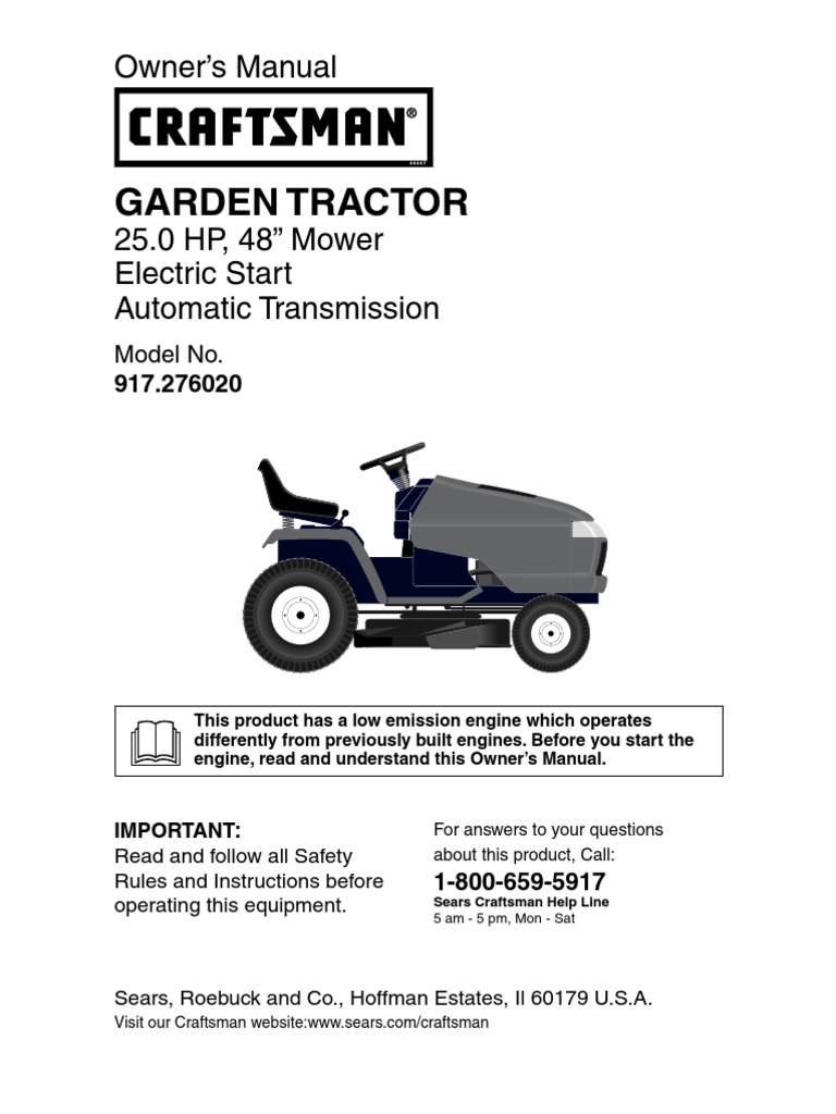 Craftsman Gt5000 Garden Tractor Manual : Craftsman garden tractor owners manual