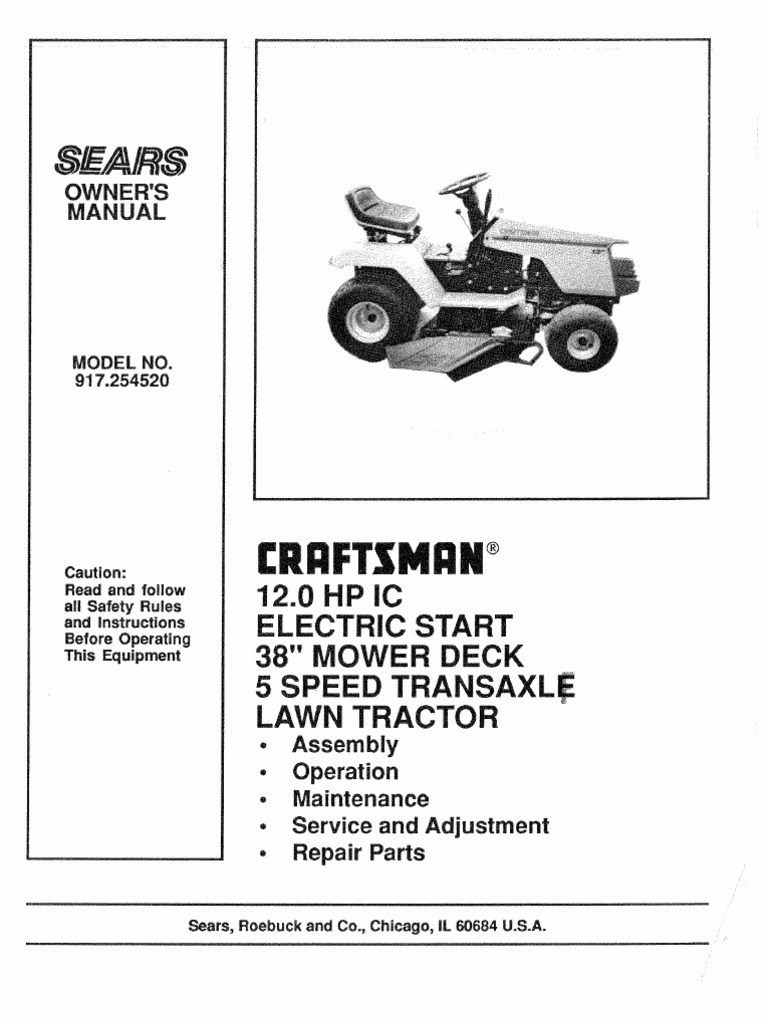 Craftsman Lawn Mowers And Tractors Manuals