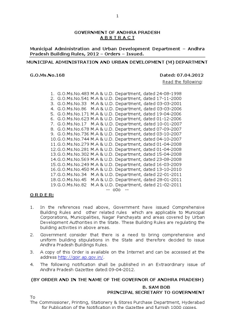 Andhra Pradesh Building Rules 2012 GO Ms No 168 MA, Dated 07 04 2012