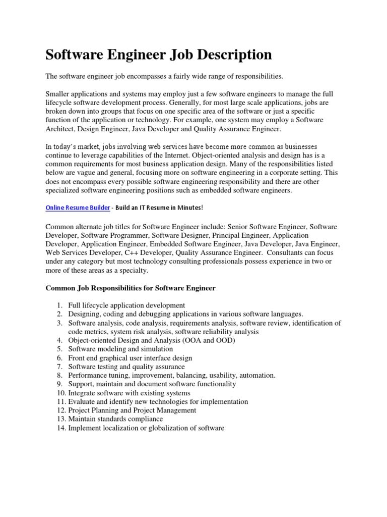 Download Software Engineer - Job Description - DocShare.tips