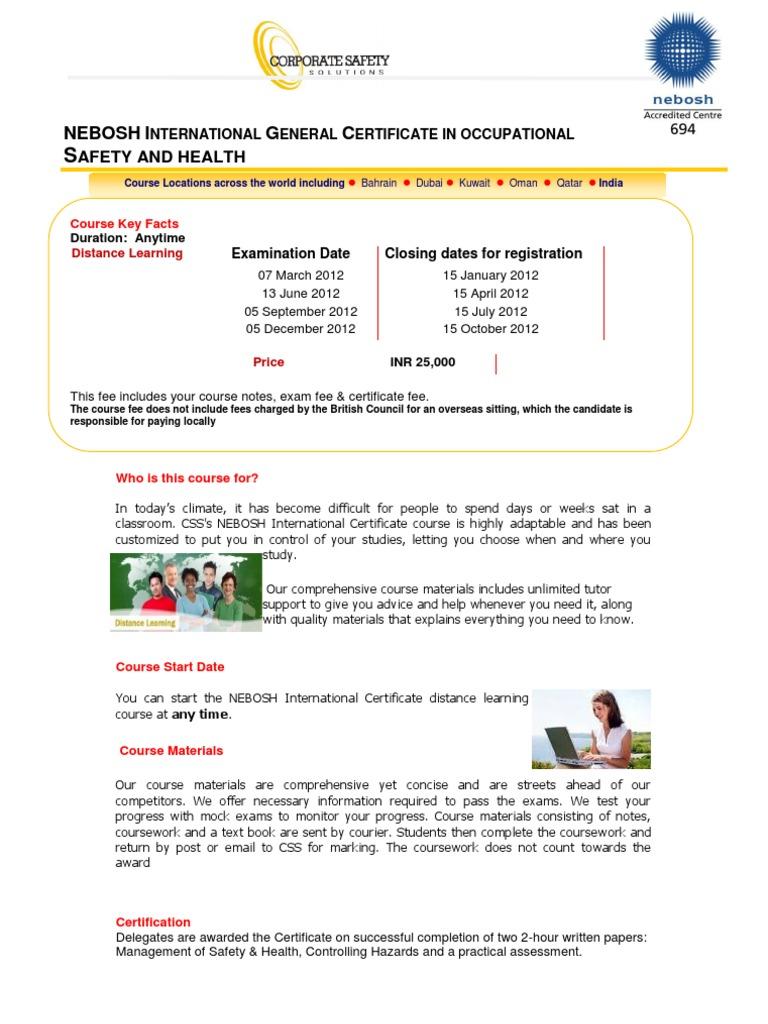 Nebosh IGC Distance Learning CSS