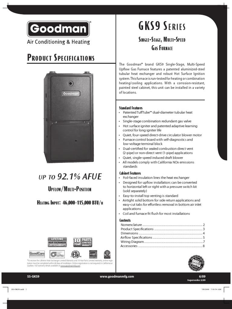 Goodman Gks9 Spec Sheet 609 2 Ton Heat Kit Wiring Diagram