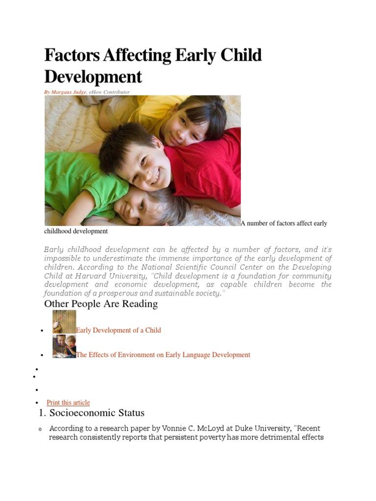 economic factors affecting child development