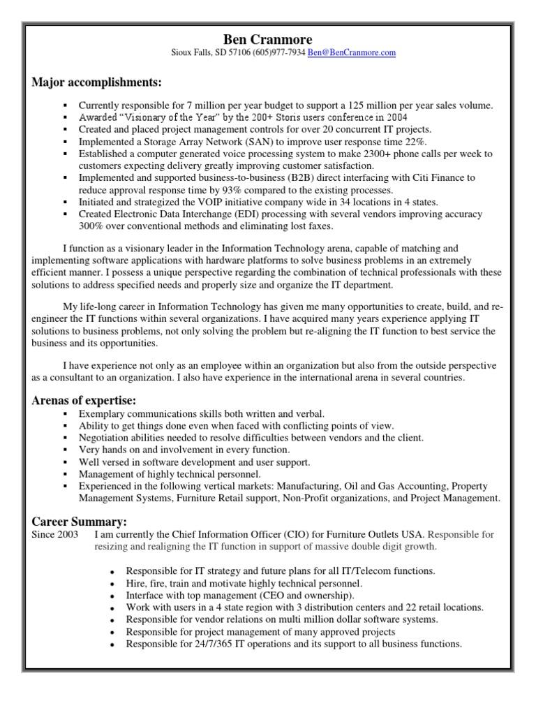 Download Chief Information Officer CIO in Dallas Ft Worth TX Resume ...