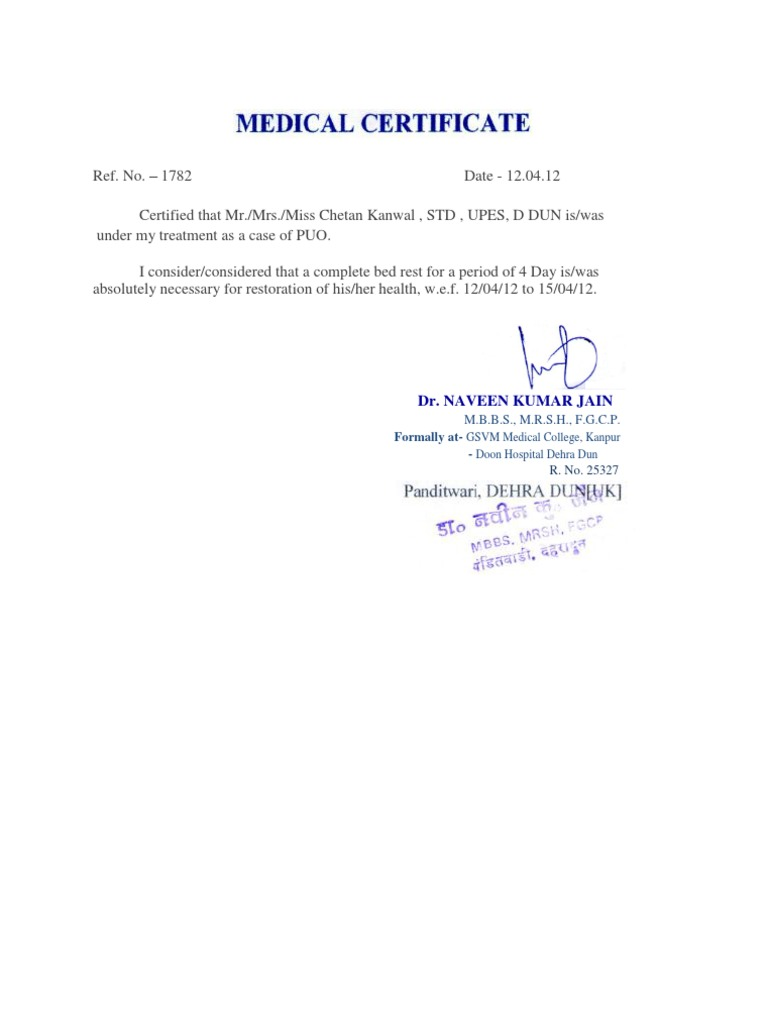 Medical Certificate Docshare