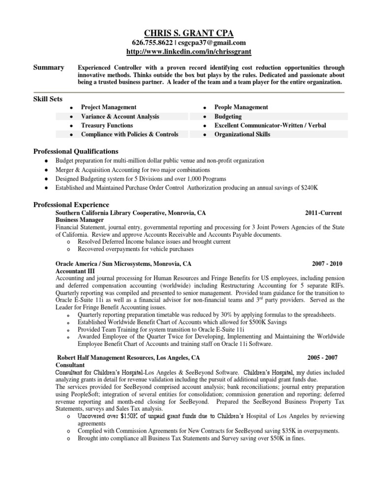 accounting controller resume