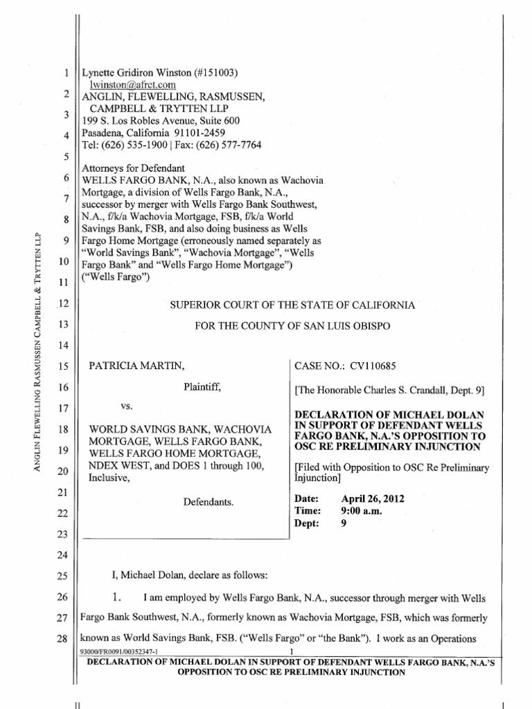 declaration of michael dolan of wells fargo bank in martin v wells faro case docsharetips