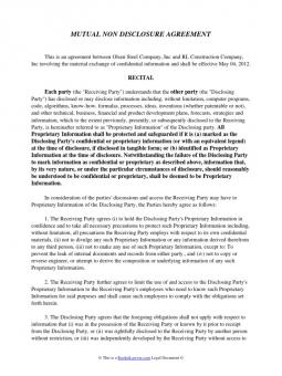 Non Disclosure Agreement Template Texas