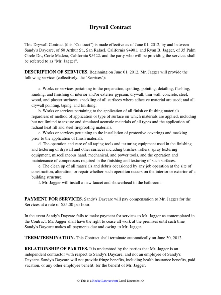 Download drywall contract for B b contract