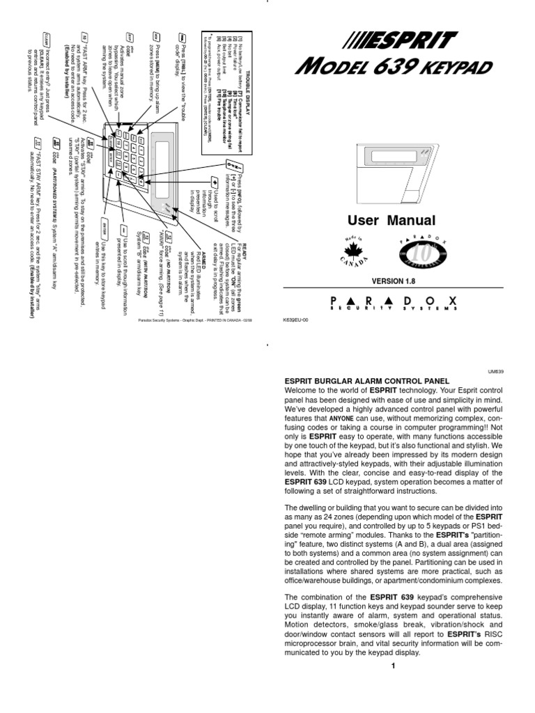 Paradox esprit 616 and 626 keypad user manual docshare. Tips.